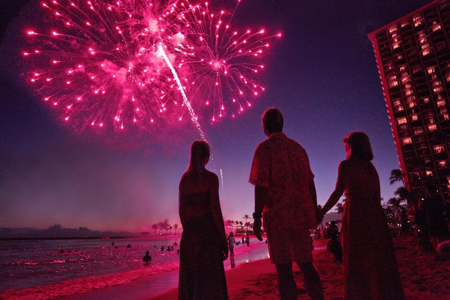 ヒルトン・ハワイアンビレッジから見る花火のイメージ