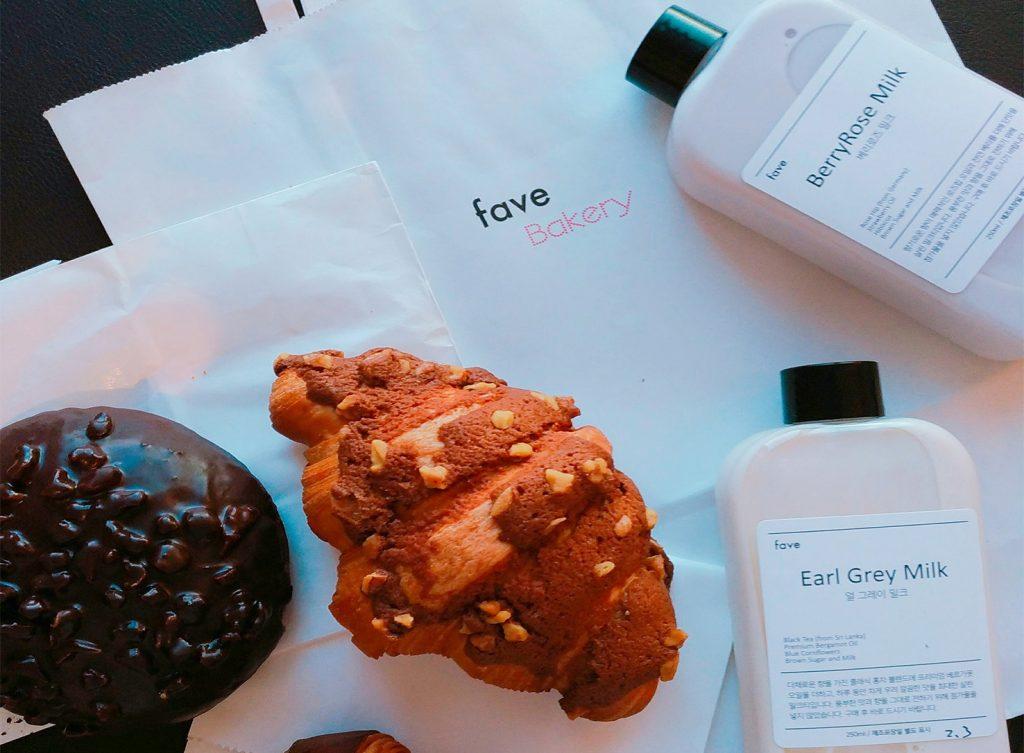 韓国Fave Bakeryのパンとドリンク